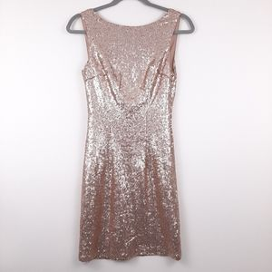 LULU'S Shine Time Rose Gold Sequin Dress Size S